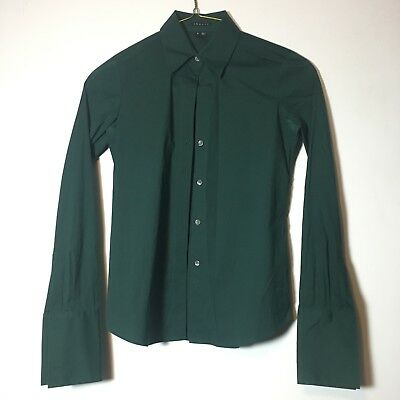 f83ca8e9a9ed2d EUC THEORY FOREST Green Button Down Blouse Size Small - $12.99 ...