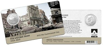 2018 - Western Front  - Amiens    (RAM carded 50c coin).....     e