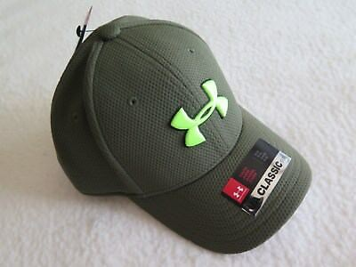 Under Armour Boys' Blitzing Stretch Fit Green Hat II - Size SMALL - NWT