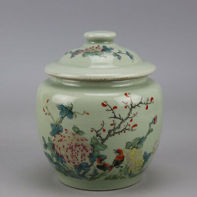 Chinese old porcelain famille rose glaze bird & flower pattern tea caddy c02
