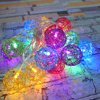 20 Led Lights Multicolor Metal Glove Covers Decor for Room Fairy String 2 sets