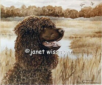 FINE ART WATERCOLOR PAINTING PRINT Irish Water Spaniel IWS, New, signed numbered
