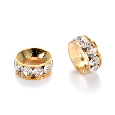 100pcs Gold Tone Alloy Rhinestone Metal Beads Large Hole Loose Spacers Ring 10mm