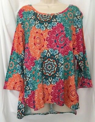 d54cab1f221 NEW Westbound XL Tunic Top Star Floral Print 3 4 Slv Cotton Stretch Shirt