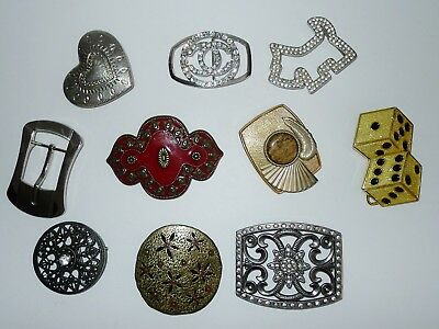 LOT OF 10 LOVELY VINTAGE BELT BUCKLES , with rhinestones