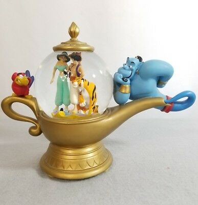 Disney Aladdin Genie Lamp Musical Snowglobe Music Box Water Snow Globe Rare