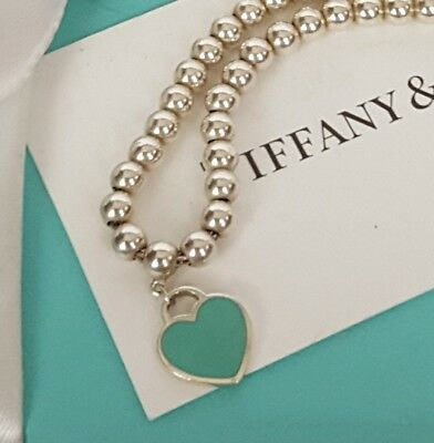 4abae5d99 TIFFANY CO Return to Tiffany Bead Ball Bracelet Blue Enamel Mini Heart Tag  POUCH