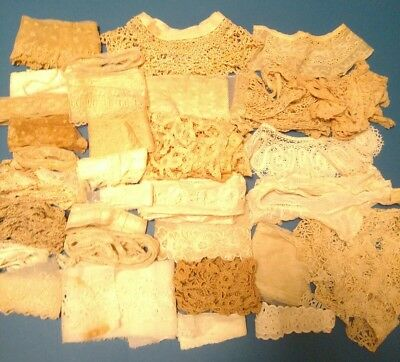 HUGE LOT of ANTIQUE LACE 43 Yds 32 Pieces Edging Trim Collars French Net Vintage