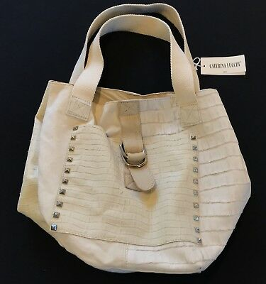 eb13a5816d CATERINA LUCCHI ITALY Leather Canvas Hobo Slouch Tote Handbag Purse ...