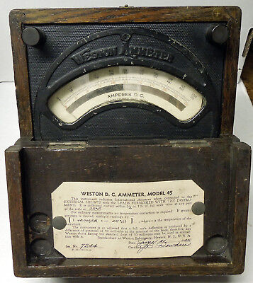 Vintage Antique Science Weston Ammeter Model 45, ornate and uncommon face plate