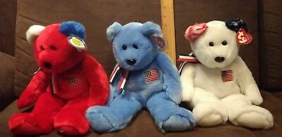 """Set Of 3 Ty Beanie Buddy Collection America Teddys. Red, Blue & White (13.5"""")"""