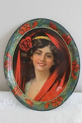 Antique Victorian Oval Tin Litho Serving Tray Portrait Young Woman / Floral