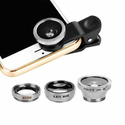 3in1 Clip On Camera Lens Kit Wide Angle Fish Eye Macro For Smart Phone-Silv U