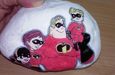 Artist Hand Painted Garden Rock Stone Disney THE INCREDIBLES Superheroes