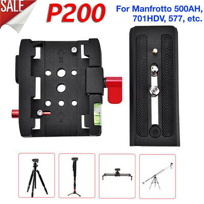 Quick Release Clamp Adapter QR Plate Base P200 For Manfrotto 500 500AH 701HDV g