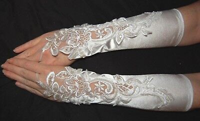 White Swirl Fingerless Satin Formal Gloves~ Bridal Prom Party Wedding 13 inch