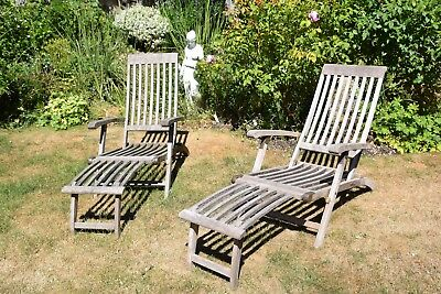 Pair of good quality Hardwood steamer chairs