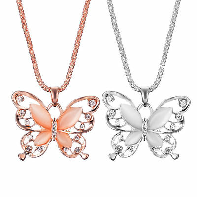Charm Women Rose Gold/Silver Opal Butterfly Pendant Long Chain Necklace Jewelry