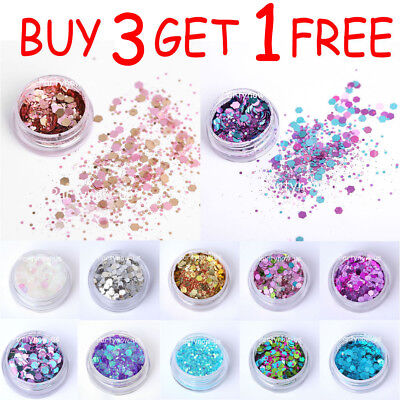 Chunky Mix Glitter Pot Nail Face Eyes Body Festival Clubbing Tattoo Cosmetic