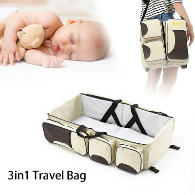ULTRA-PORTABLE Carrycot Baby Bed 3-in-1 Diaper Bag 74*35*18cm safe comfortable.