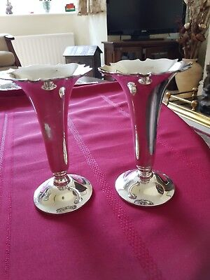 A Stylish Pair Of Chester Hallmark, Art Nouveau, Silver Trumpet Shaped Vases
