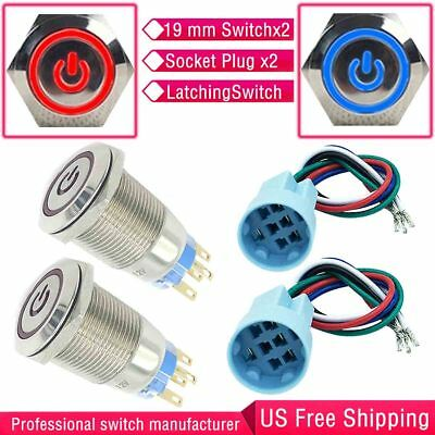 2 Color 19mm Blue&Red Metal Push Button latching Lighted Switch Plug