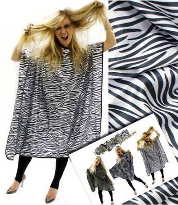 Hair Tools Zebra Print Hairdressing Satin Gown With Hook Fastening Collar