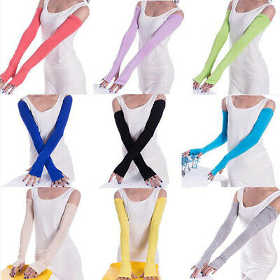 Ice Silk Cold Gloves Half Finger Driving Arm Warmers Sun UV Protection