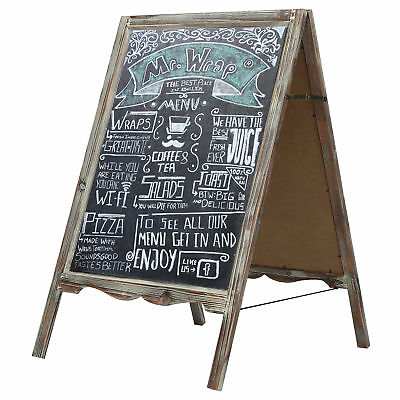 Rustic Torched Wood A-Frame Freestanding Decorative Chalkboard, Message Board