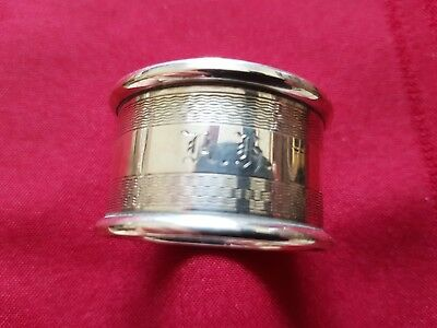 A Large Solid Silver, Engine Turned Napkin Ring 1948