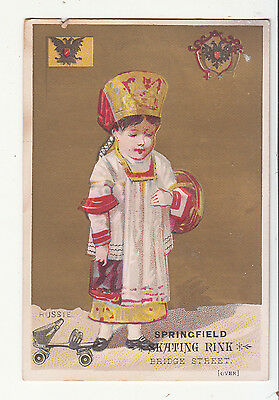 Springfield Roller Skating Rink RUSSIE Russia Girl Southlands Vict Card c1880s
