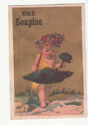 Soapine Soap Kendall Mfg Providence Girl w Purple Flowers Mai Vict Card c1880s