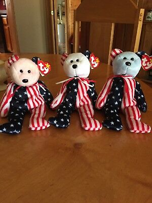 Red White And Blue Faced Spangle The Bears Ty Original Beanie Babies Set