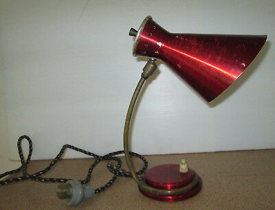 Vintage 1950's Daydream Anodised Red Desk Lamp Brass Stand Original Cord Retro