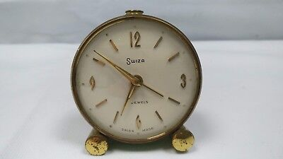 Vintage Swiss Made Brass Swiza Enameled Green Alarm Clock 8-day 7 Jewels Wind Up