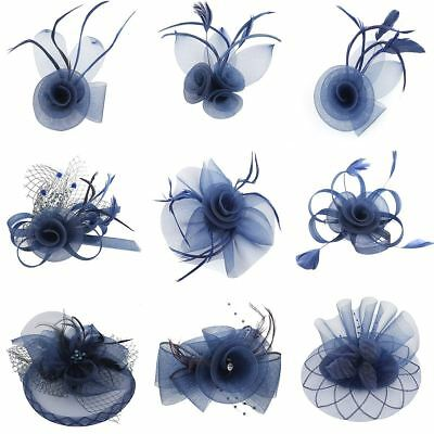 Navy Blue Flower Feather Fascinator  Headband / Clip Race Royal Ascot