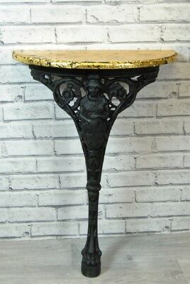 Hall Telephone Lamp Console Table - Black and Gold Vintage Britannia Cast Iron