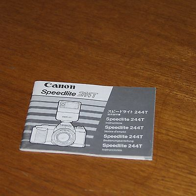 Instructions for CANON SPEEDLITE 244T FLASH UNIT printed in JAPAN 5 languages