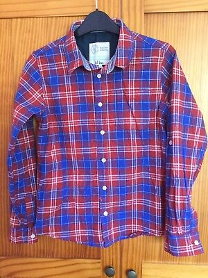 FAT FACE boys red blue check long sleeve check shirt AGE 12-13 YEARS worn once