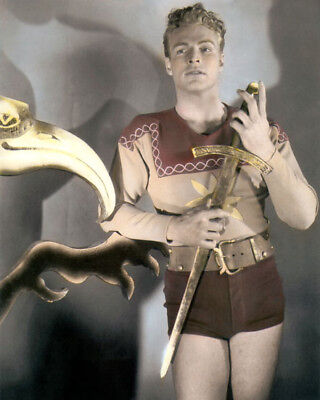 """BUSTER CRABBE HOLLYWOOD ACTOR FLASH GORDON 1936 11x14"""" HAND COLOR TINTED PHOTO"""