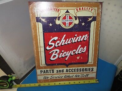 """Schwinn Bicycle Metal Parts and Accessories Sign 16"""" x 12-1/2"""" - New"""