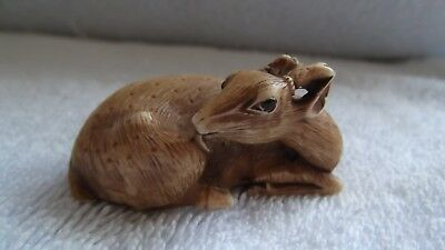 ANTIQUE/VINTAGE JAPANESE CARVED NETSUKE DEER Signed