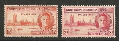 NORTHERN RHODESIA stamp Scott# 46-47 Mint NH KGVI Peace Issue 1946 Great Britain