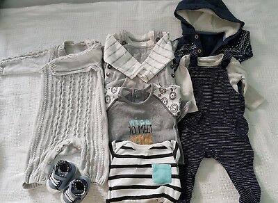 205a1a72d Warm Winter Baby Boys Clothes Bundle 0-3 Months Sleepsuits Dungarees 9 Items