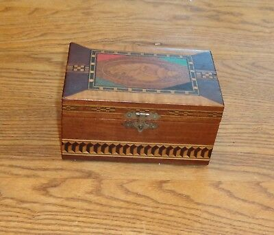 Keepsake box inlaid shell design inlaid bands brass hardware