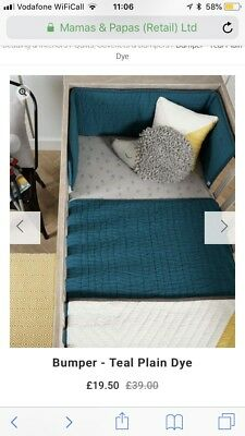 Mamas And Papas teal  Cot Bumper, quilt and baby changing mat