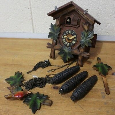 vtg Wooden Cuckoo Clock Thorens Kaier Waltz Gueissa 373 w/Weights - 250