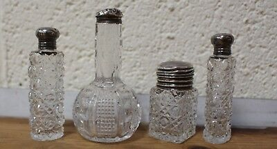 Antique 1901 1911 Hallmarked Solid Silver & Crystal Perfume Bottles x 4 - 213