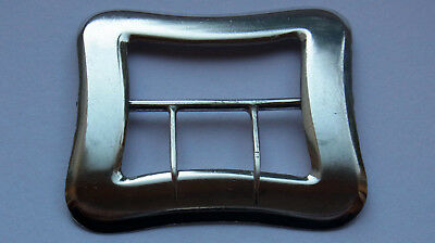 Antique Belt Buckle - 1898 - sterling silver - double pronged 'pirate' style