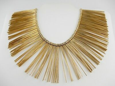 Vintage Large Couture Runway Collar Bib Necklace Egyptian Revival Gold Pat Pen